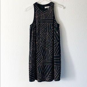 Trina Turk Beaded Silk Studded Shift Mini Dress